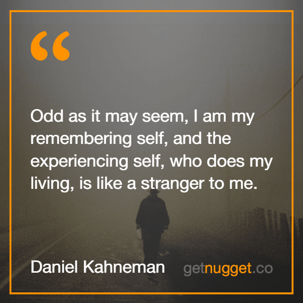 Odd as it may seem, I am my remembering self, and the experiencing self, who does my living, is like a stranger to me.