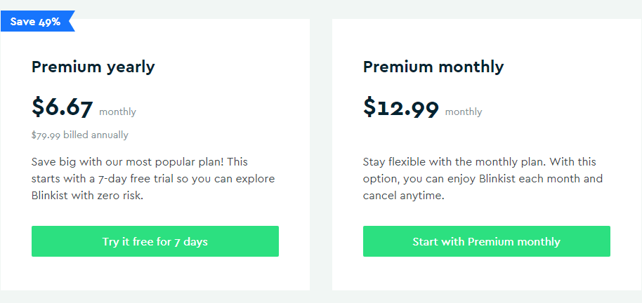 Blinkist Pricing